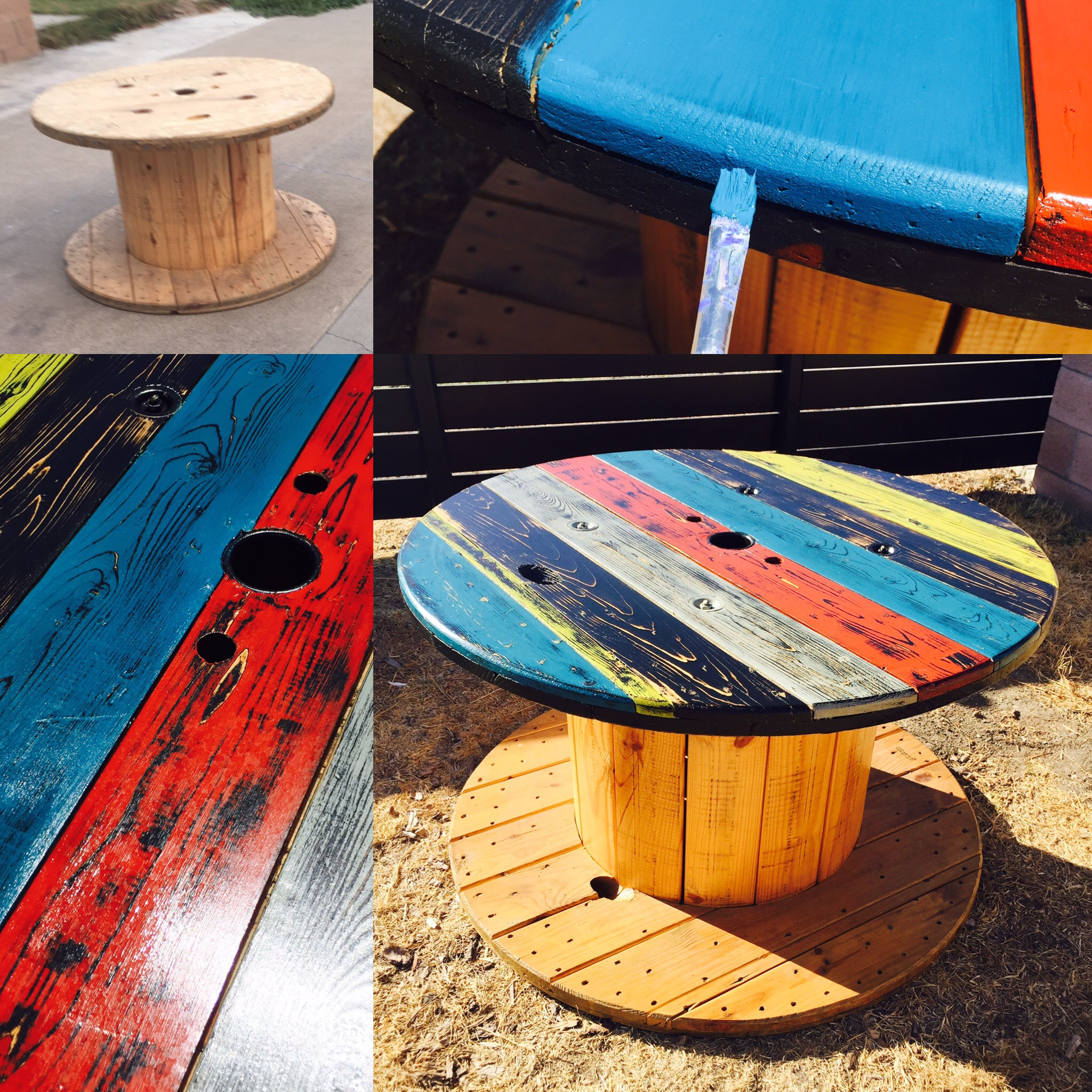 Refurbished electrical wire spool table the how to duo for Wire reel table